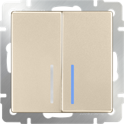 Выключатель двухклавишный с подсветкой (шампань) WL11-SW-2G-LED
