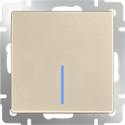 Выключатель одноклавишный с подсветкой(шампань) WL11-SW-1G-LED