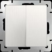 Выключатель двухклавишный проходной (перламутровый рифленый) WL13-SW-2G-2W