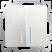 Выключатель  двухклавишный проходной с подсветкой (перламутровый рифленый) WL13-SW-2G-2W-LED