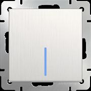 Выключатель одноклавишный проходной с подсветкой (перламутровый рифленый) WL13-SW-1G-2W-LED