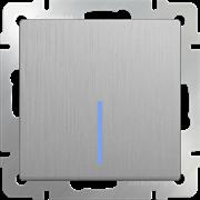 Выключатель одноклавишный проходной с подсветкой (cеребряный рифленый) WL09-SW-1G-2W-LED