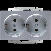 Розетка двойная с заземлением (серебряный) WL06-SKG-02-IP20