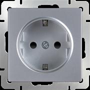 Розетка с заземлением и шторками  (серебряный) WL06-SKGS-01-IP44