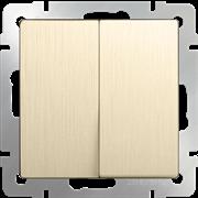 Выключатель  двухклавишный  (шампань рифленый) WL10-SW-2G