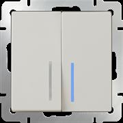 Выключатель двухклавишный проходной c  с подсветкой (слоновая кость) WL03-SW-2G-2W-LED-ivory