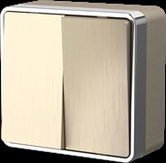 Выключатель двухклавишный Gallant (шампань рифленый) WL15-03-01