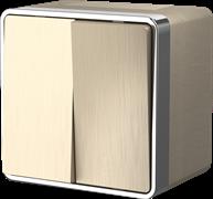 Выключатель двухклавишный влагозащищенный Gallant (шампань рифленый) WL15-03-02