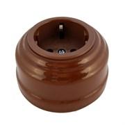 Розетка ретро керамическая с заземлением bruno (коричневый), Leanza РКС