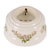 Розетка ретро керамическая с заземлением розовые цветы, Leanza Fiori Rosa  РПРС