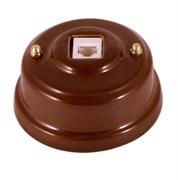 Розетка Интернет/Телефон ретро керамическая коричневая, Leanza Bruno РК6КЗ