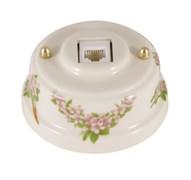 Розетка Интернет/Телефон ретро керамическая розовые цветы, Leanza Fiori Rosa РК6РЗ