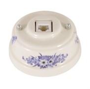 Розетка Интернет/Телефон ретро керамическая синие цветы, Leanza Fiori Viola РК6ВЗ
