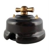 Выключатель ретро фарфоровый поворотный Черный Leanza Nero ВППЧ