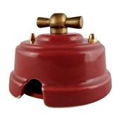 Выключатель ретро фарфоровый поворотный гранатовый Leanza Granato ВППГ