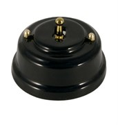 Тумблерный ретро выключатель фарфоровый черный Leanza Nero ВР1Ч