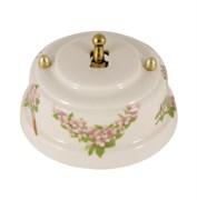 Тумблерный ретро выключатель фарфоровый розовые цветы Leanza Fiori Rosa ВР1Р