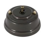 Тумблерный ретро выключатель фарфоровый серый Leanza Grigio ВР1С
