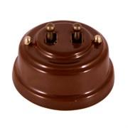 Двухтумблерный ретро выключатель фарфоровый коричневый Leanza Bruno ВР2К
