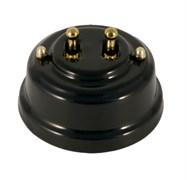 Двухтумблерный ретро выключатель фарфоровый черный Leanza Nero ВР2Ч