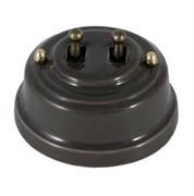 Двухтумблерный ретро выключатель фарфоровый серый Leanza Grigio ВР2С