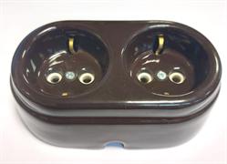 Розетка двойная ретро керамическая с заземлением Арбат Коричневая, INTERIOR ELC, SCIE/BR-04-2