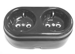 Розетка двойная ретро керамическая с заземлением Арбат Черная, INTERIOR ELC, РСЗК-05-2