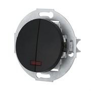 Ретро выключатель двухклавишный с индикатором 10А, 250В (черный) Vintage LK STUDIO 881208-1