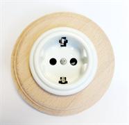 Керамическая ретро розетка+ рамка бук натуральный, Colony, Retrika RSV-80001++