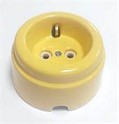 Розетка ретро керамическая с заземлением Песочная, INTERIOR ELC, РСЗК-03