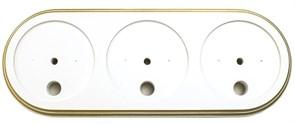 Подложка 3-местн. деревянная ретро Белая с золотом EDISEL GRANDE GR-WG-3