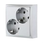 Розетка двойная Серебро с з/к с защитными шторками LK60 LK STUDIO 863503
