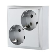 Розетка двойная с з/к с защитными шторками (серебро) LK80 LK STUDIO 843503