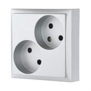 Розетка двойная без з/к с защитными шторками (серебро) LK80 LK STUDIO 843603
