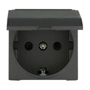 Розетка с крышкой с з/к и защитными шторками Черный LK45 LK STUDIO 851508