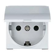 Розетка с крышкой с з/к и защитными шторками Серебро LK45 LK STUDIO 851503