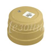 Розетка пластиковая ретро компьютерная RJ45 Песочное золото Мезонин GE30341-32