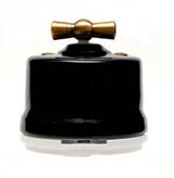 Выключатель ретро, поворотный Черный Salvador OP11BL для наружного монтажа