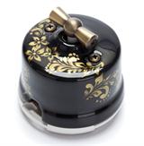 Выключатель ретро, поворотный, 2-х позиц. Черный с золотом Salvador OP11BL.GD для наружного монтажа