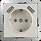 Розетка с заземлением, шторками и USBх2 (слоновая кость) WL03-SKGS-USBx2-IP20 - фото 11315